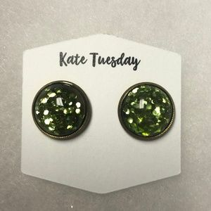 Green Flecked Sparkle Earring Studs - Brand New